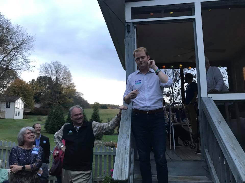 Chris Hurst campaigning with Tim Kaine